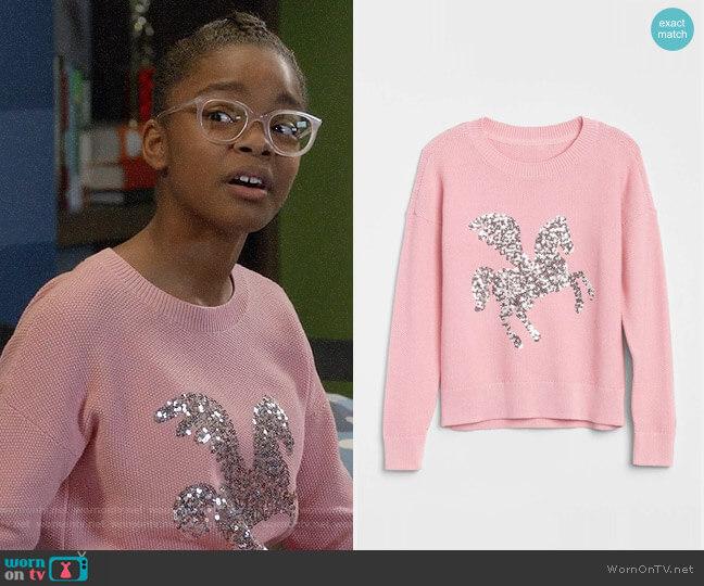 Gap Girls Sequin Graphic Sweater worn by Diane Johnson (Marsai Martin) on Blackish