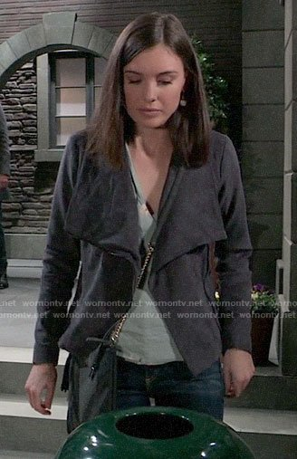 Willow's green floral top and grey suede jacket on General Hospital