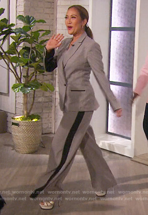Carrie's gingham print blazer and pants on The Talk