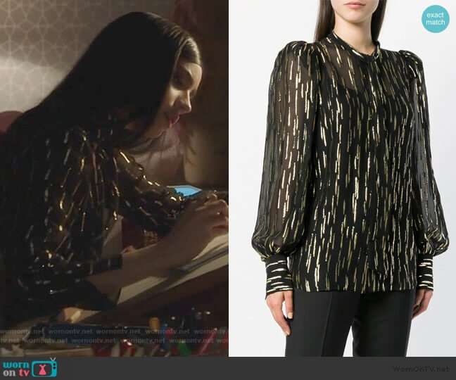 fil coupé pussy bow blouse by Givenchy worn by Ava Jalali (Sofia Carson) on PLL The Perfectionists