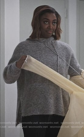 Daisy's gray hooded sweater on Madam Secretary