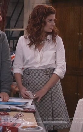 Grace's gray patterned skirt on Will and Grace