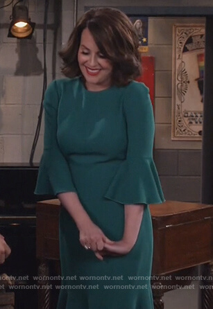 Karen's green bell cuff midi dress on Will and Grace