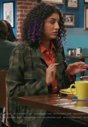 Heather's cropped leopard jacket on Crazy Ex-Girlfriend