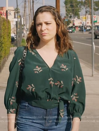 Rebecca's green floral wrap blouse on Crazy Ex Girlfriend