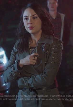 Mona's green grommet embellished coat on PLL The Perfectionists