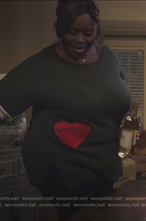 Ruby's green heart embellished sweater on Good Girls