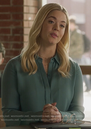Ali's green blouse on PLL The Perfectionists