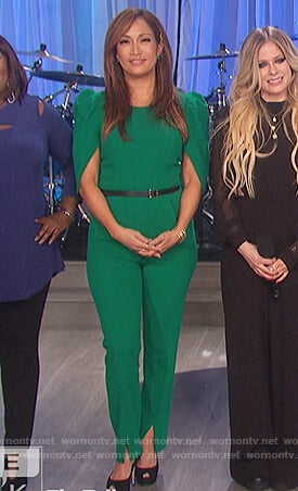 Carrie's green puff sleeve jumpsuit on The Talk