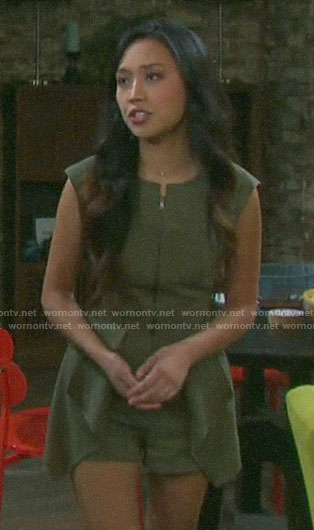 Haley's green zip front romper on Days of our Lives