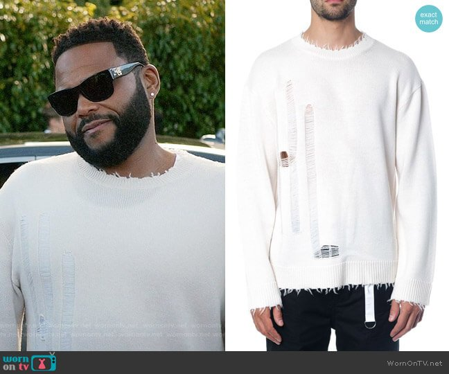 Helmut Lang Destroyed Jumper worn by Andre Johnson (Anthony Anderson) on Blackish