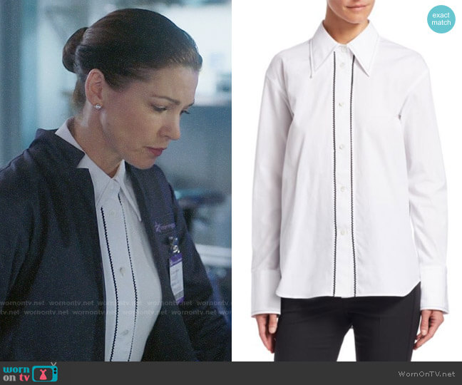 Helmut Lang Embroidered Cotton Tuxedo Shirt worn by Julia on Charmed