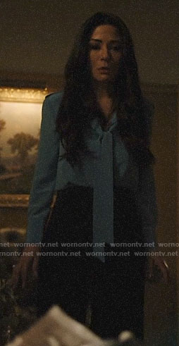 Hermione's blue tie neck blouse on Riverdale