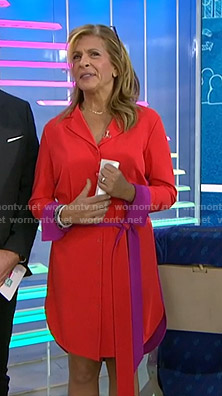 Hoda's red contrast shirtdress on Today
