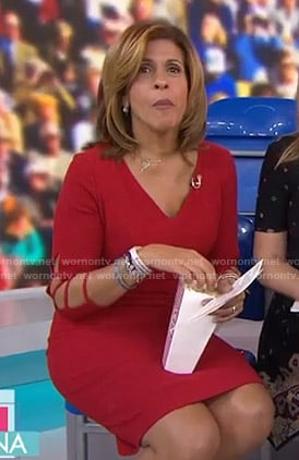 Hoda's red cutout sleeve dress on Today