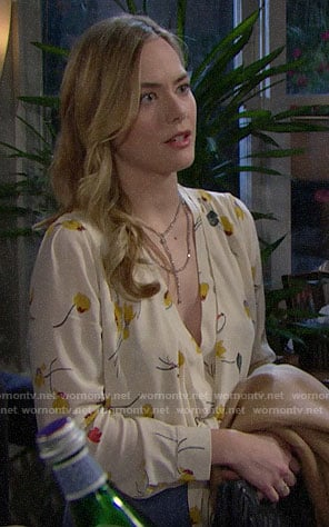 Hope's beige floral blouse on The Bold and the Beautiful