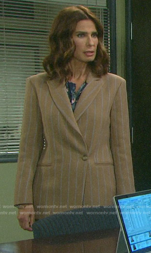 Hope's beige striped blazer on Days of our Lives
