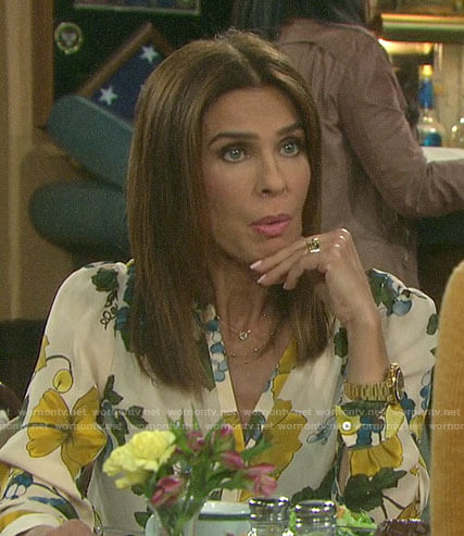 Hope's floral blouse on Days of our Lives
