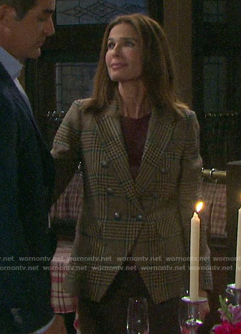 Hope's checked double-breasted blazer on Days of our Lives
