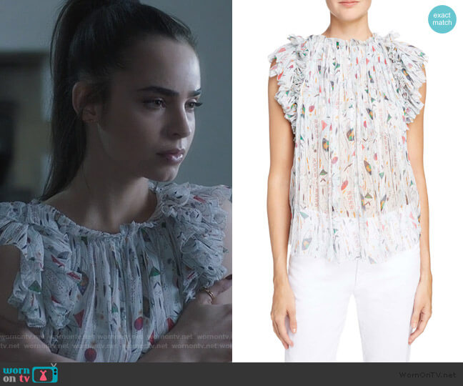 Erell Fluid Top by Isabel Etoile Marant worn by Ava Jalali (Sofia Carson) on PLL The Perfectionists