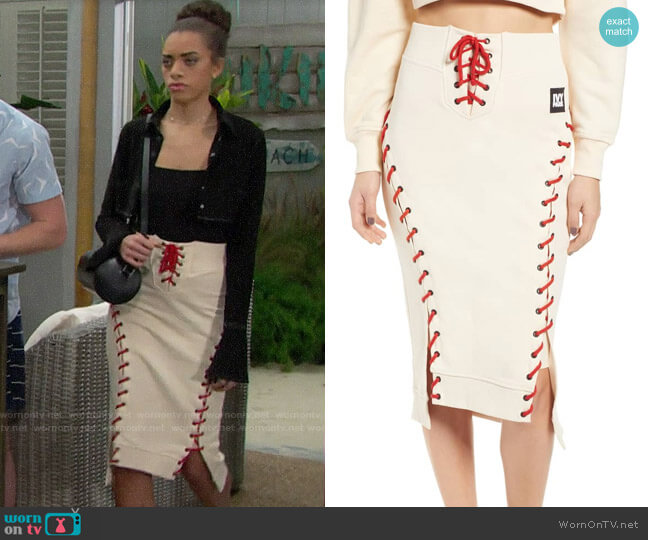 Ivy Park Craft Skirt worn by Zoe (Kiara Barnes) on The Bold & the Beautiful