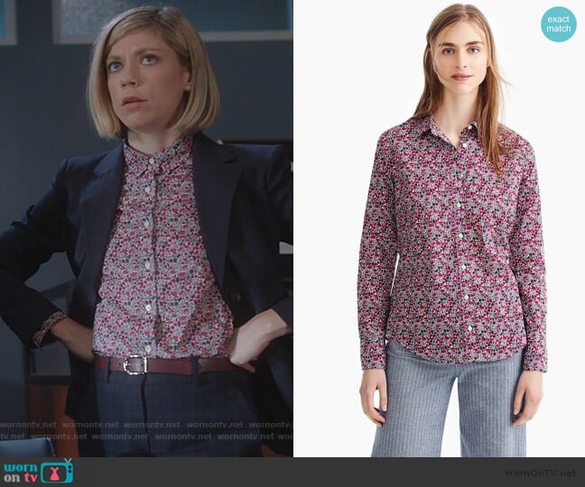 Slim perfect shirt in Liberty floral by J. Crew worn by Kate Littlejohn (Susannah Flood) on For the People