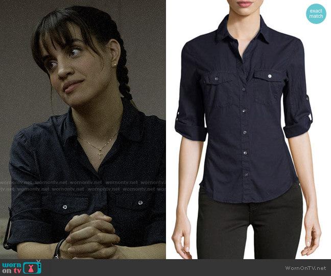 James Perse Cotton Contrast-Panel Shirt worn by Anne Garcia (Natalie Morales) on Santa Clarita Diet