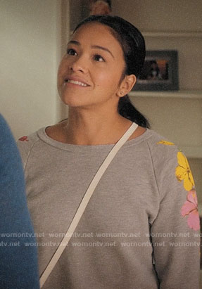 Jane's grey hibiscus sweatshirt on Jane the Virgin