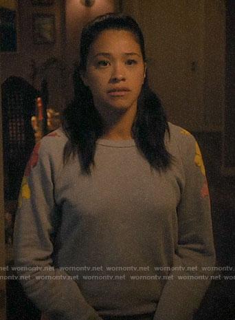 Jane's grey hibiscus sweatshirt on Jane the Virgin