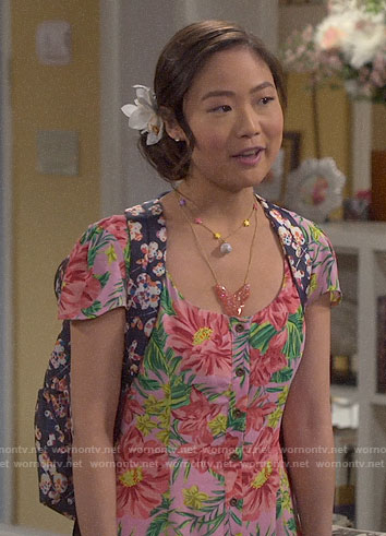 Jen's tropical print dress on Last Man Standing