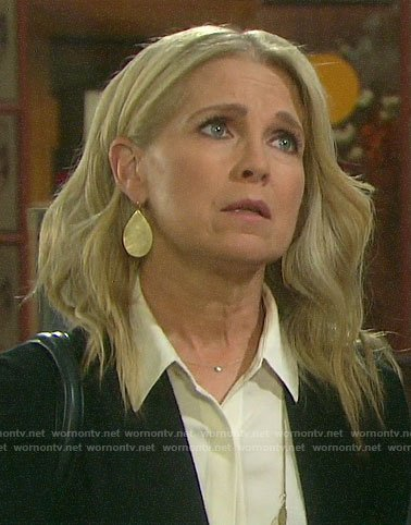 Jennifer's gold teardrop earrings on Days of our Lives