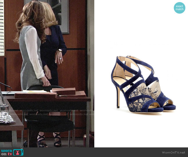 Jimmy Choo Vantage Suede & Lace Sandals worn by Nikki Reed Newman (Melody Thomas-Scott) on The Young & the Restless