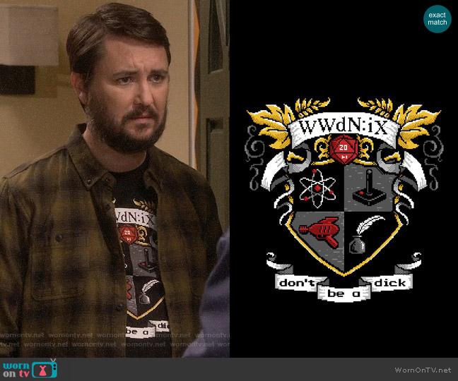 Jinx WWdN:iX family crest t-shirt worn by Wil Wheaton on The Big Bang Theory