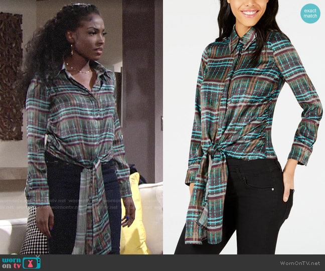 J.O.A. Printed Button-Down Tie-Front Shirt worn by Ana Hamilton (Loren Lott) on The Young & the Restless