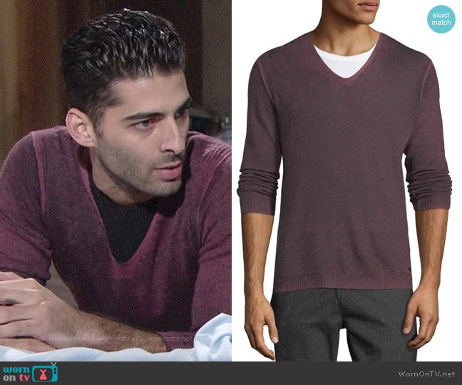 John Varvatos Reverse-Seam Sweater worn by Arturo Rosales (Jason Canela) on The Young & the Restless