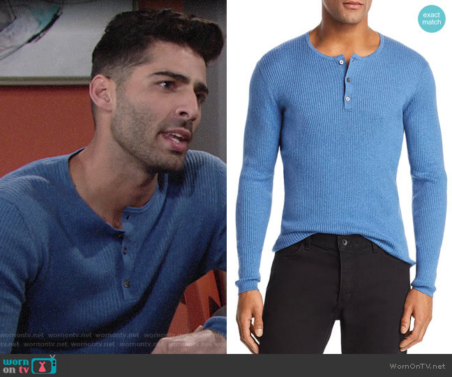 John Varvatos Ribbed Henley worn by Arturo Rosales (Jason Canela) on The Young & the Restless