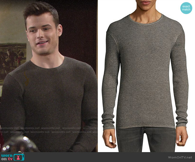 John Varvatos Thermal Crewneck Top worn by Kyle Abbott (Michael Mealor) on The Young & the Restless