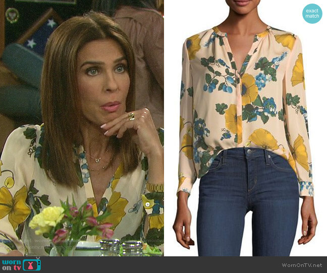 Joie Amarant Blouse worn by Hope Williams (Kristian Alfonso) on Days of our Lives