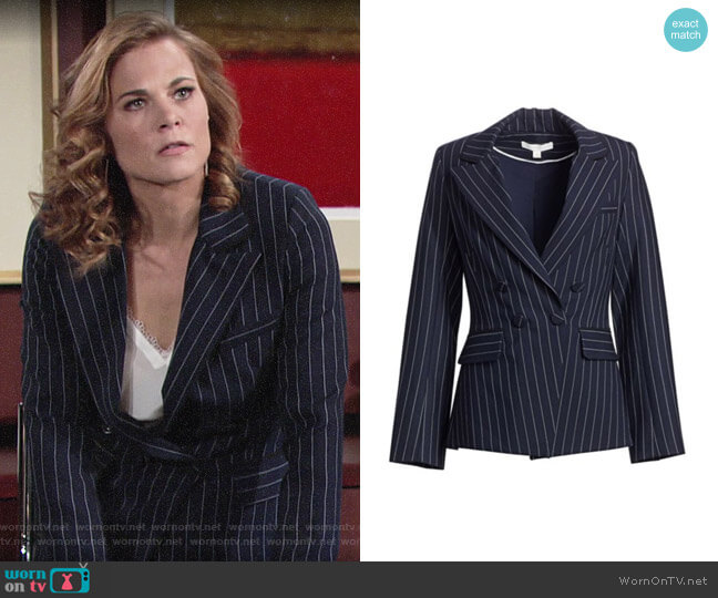 Jonathan Simkhai Pinstripe Tailor-Fit Blazer worn by Phyllis Newman (Gina Tognoni) on The Young & the Restless