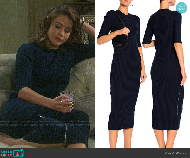 Joseph Ribbed Wool Midi Dress worn by Sarah Horton (Linsey Godfrey) on Days of our Lives