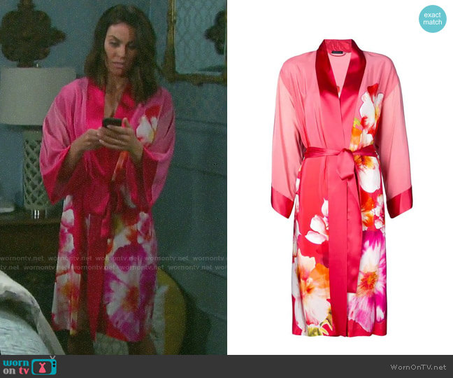 Josie Natori Floral Print Belted Robe worn by Chloe Lane (Nadia Bjorlin) on Days of our Lives