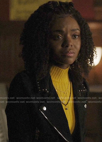 Josie's yellow ribbed sweater and studded moto jacket on Riverdale