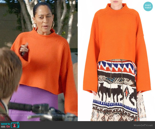 J.W. Anderson Orange Pullover worn by Rainbow Johnson (Tracee Ellis Ross) on Blackish