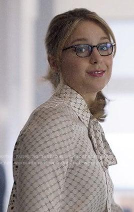 Kara's mixed print blouse on Supergirl