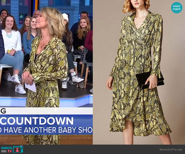 Snakeskin Print Midi Dress by Karen Millen worn by Amy Robach  on Good Morning America