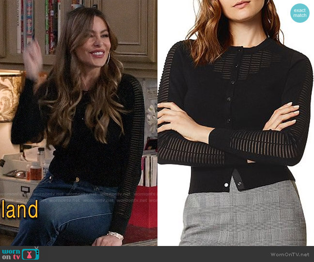 Karen Millen Sheer Detail Cardigan worn by  Gloria Pritchett (Sofia Vergara) on Modern Family