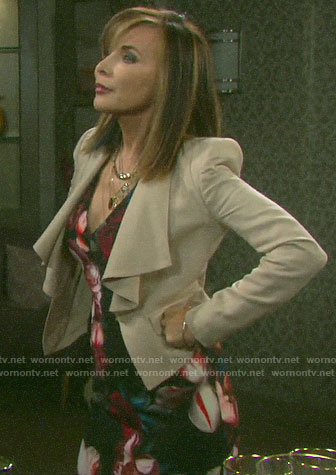 Kate's floral v-neck dress and draped collar blazer on Days of our Lives