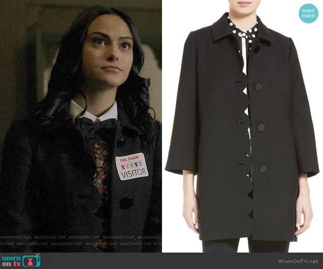 Kate Spade Scallop Twill Coat  worn by Veronica Lodge (Camila Mendes) on Riverdale