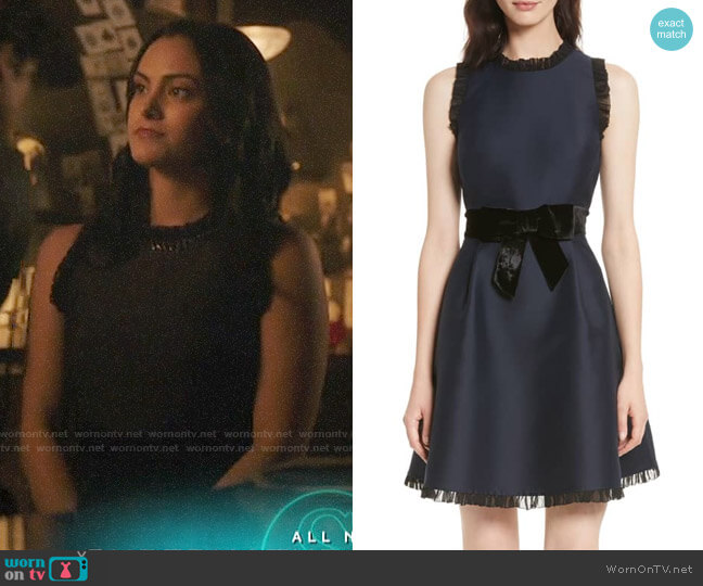 Kate Spade Velvet Bow Fit & Flare Dress worn by Veronica Lodge (Camila Mendes) on Riverdale