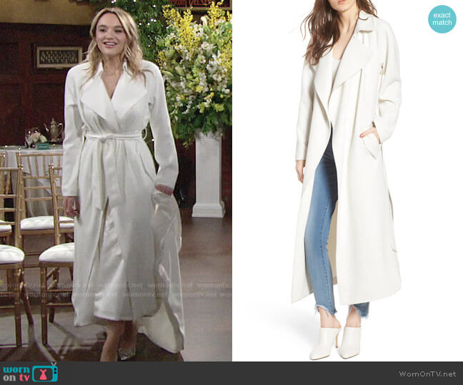 Kendall + Kylie Drape Trench Coat worn by Summer Newman (Hunter King) on The Young & the Restless